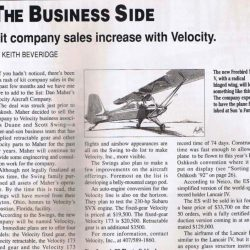 Magazine: Kitplanes December 1992 – Velocity Sold to Swings