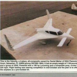 """Magazine: Sport Aviation – November 1985 """"Velocity Debut"""""""
