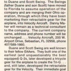 Magazine: Sport Aviation September 1992 – Velocity Sold to the Swings