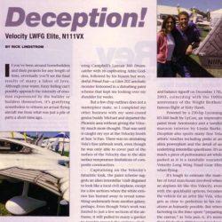 Magazine: Kitplanes August 2004 – N111VX Deception