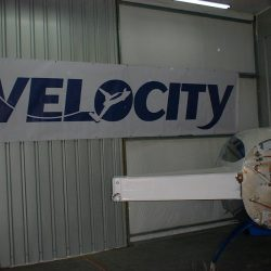 Decorating Hangar with 16′ Velocity Banner